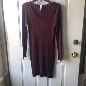 Body Con, Sweater dress - burgundy size 15-17